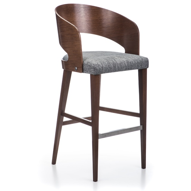 RONDO WOOD bar stool with armrests